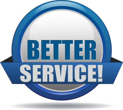 BETTER SERVICE / realistic modern glossy 3D eps vector sign / icon in blue with a banderole