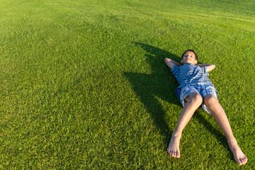 Enjoying on perfect grass field