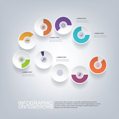 Circular Infographic Design with Pie Charts