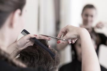 Cutting man's hair