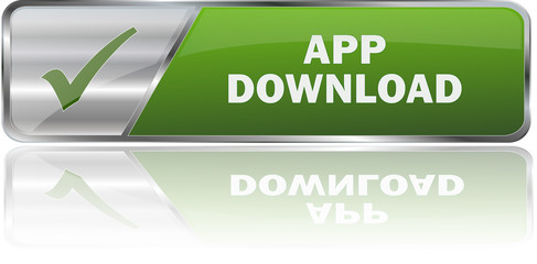 APP DOWNLOAD / realistic modern glossy 3D vector eps banner in green with metallic border and checkmark
