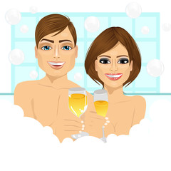 couple making toast with champagne in bathtub