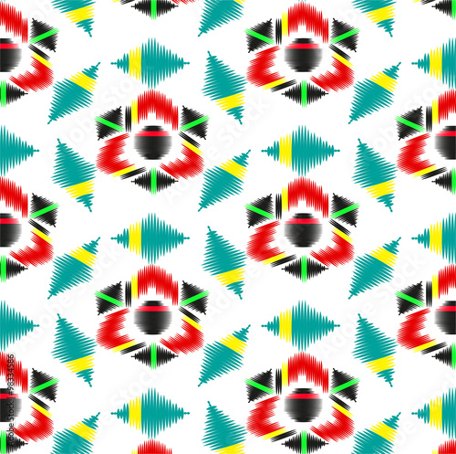 Geometric ornament seamless pattern. Textile design template.
