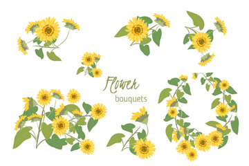Flora  sunflower  retro vintage background