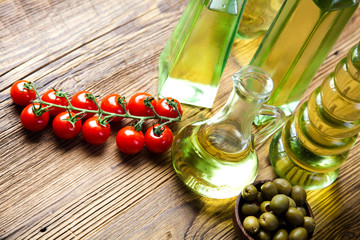 Olive oil bottle, Mediterranean rural theme