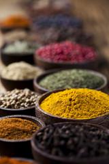 Fototapete - Spices and herbs, orintal cuisine vivid theme