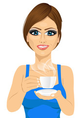 attractive young woman drinking coffee