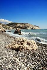 Cyprus coastline shoreline showing the Mediterranean sea with a blue sky and sea