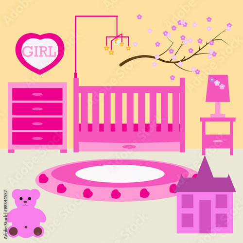 Child Room For The Newborn Girl. Baby Girl Bedroom With Furniture. Nursery  Interior.