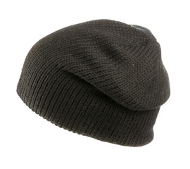 knitted hat isolated on white background .black