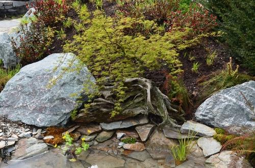 Gartenanlage Mit Teich Steingarten Stockfotos Und Lizenzfreie