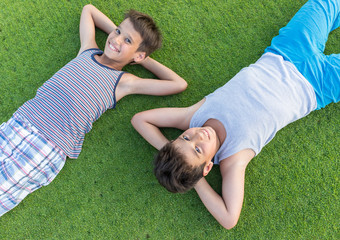The best summer holiday vacation laying on perfect green grass