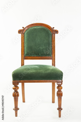 Antique Hand Carved Victorian Fruitwood Or Pear Wood Library Chair Front View Over A White