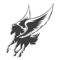Engraving Winged Horse