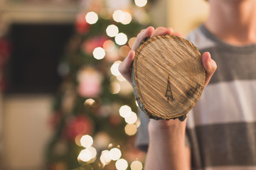 Christmas tree image found in wood