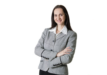 Young beautiful business woman portrait Crossed arms