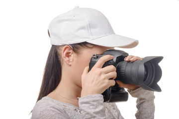 young photographer woman with white cap isolated on white
