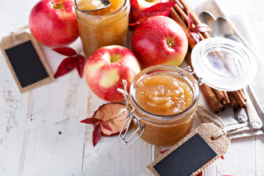 Homemade apple butter in glass jars