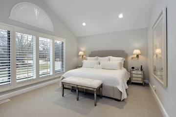 Master bedroom with wall of windows