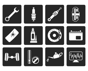 Black Car Parts and Services icons - Vector Icon Set 1