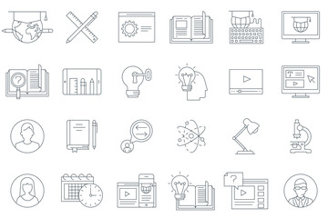 Thin line education icon set
