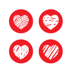 Set of red hearts. Vector Illustration.