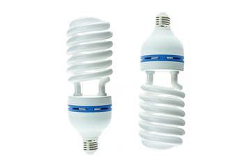 Energy saving compact fluorescent lamp, Spiral shape. Isolated o