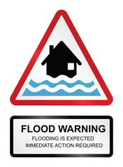 Red flood warning sign