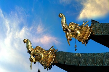 The dragon sculpture at Songzanlin Temple also known as the Ganden Sumtseling Monastery, in Zhongdian city( Shangri-La), Yunnan province China and is closely Potala Palace in Lhasa