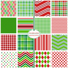 Repeating patterns for digital paper, scrapbooking, cards, invitations, gift wrap and paper backgrounds. File includes: 16 Christmas patterns.