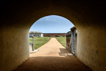 Entrance archway to old warehouse in Dutch fort in India