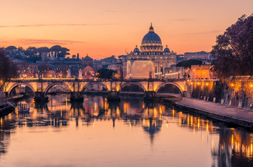 Fototapete - Rome, Italy: St. Peter's Basilica, Saint Angelo Bridge, Tiber River