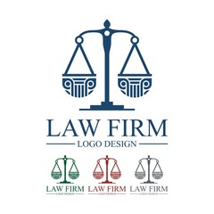 Law, Lawyer, Attorney, Pillar, Legas Scales, Design Logo Vector