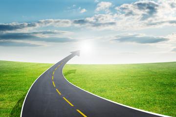 Roadway going up as an arrow, fresh air