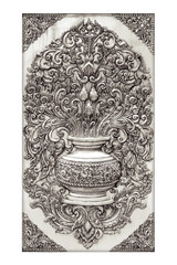 Antique engraved silver background