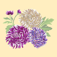 postcard with three delicate chrysanthemum on a warm beige backg