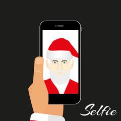 Illustration Santa makes self on a dark background