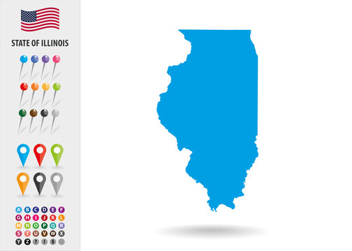 Map State of Illinois USA