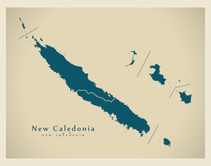 Modern Map - New Caledonia with provinces NC