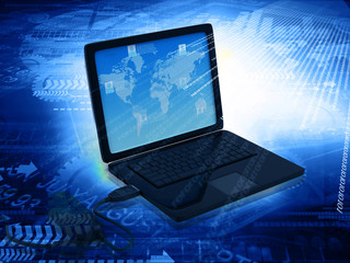 Laptop with binary stream  , Hi-tech technological background