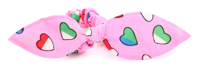 Hairband with hair bow tie pink colorful hearts
