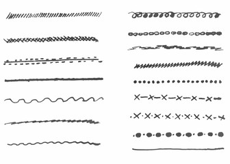 Ink strokes collection. Set of vector hand drawn brushes elements for your design works