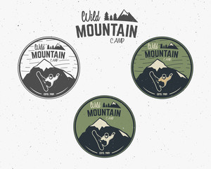Set of Mountain camp vintage explorer labels Outdoor adventure logo design Travel hand drawn and hipster insignia. Snowboard icon symbol Wilderness, forest camping badge. Vector