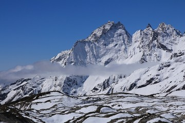 Scene in the Gokyo valley, glacier and high mountains