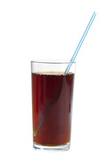 Glass of cola with a straw