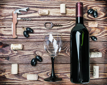 Bottle of wine and accessories