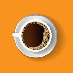Coffee in a white cup, view from above, overhead perspective, straight overhead point of view. Menu illustration, banner, flyer.