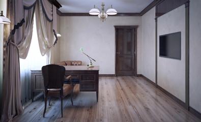 Work room with oak furniture