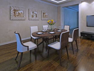 Oval dining table for six person