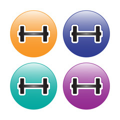 Fitness Barbell Emblem Icon